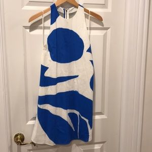 Blue and white mini dress